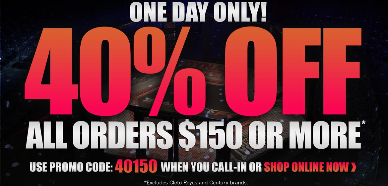 40% off $150